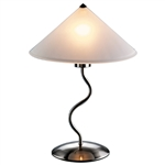 Modern 19-inch Table Light Touch Lamp with Frosted Glass Cone Shade