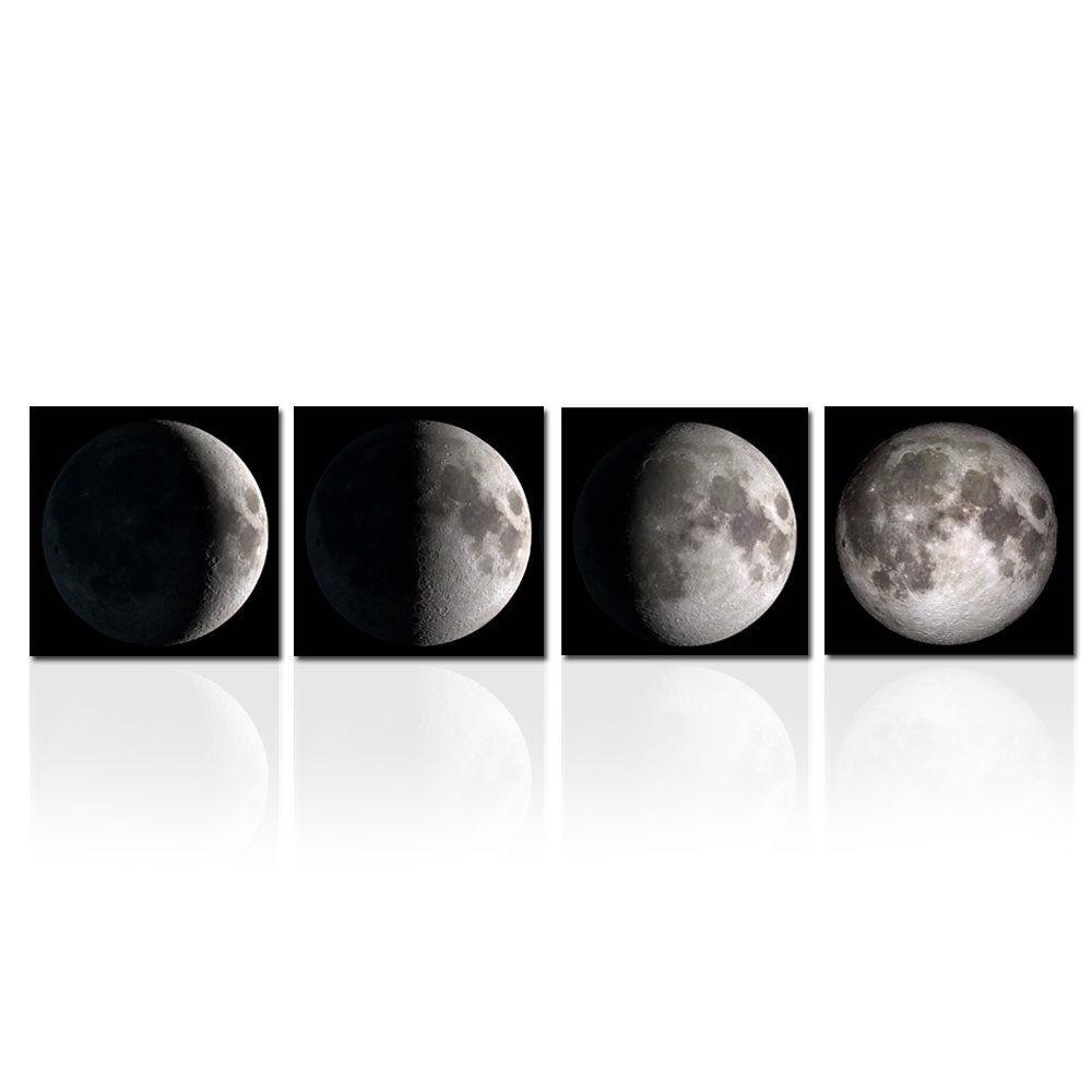 Moon Phases 4-Panel Modern Framed Canvas Print Wall Art ...