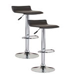 Set of 2 Modern Swivel Bar Stools in Black and Chrome