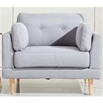 现代浅灰色亚麻软垫扶手椅,具有世纪中期风格的木脚