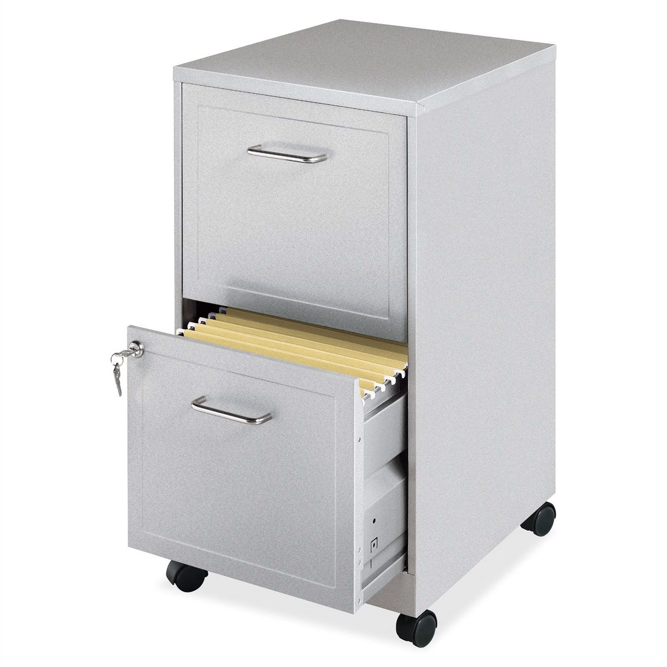 Gray Silver Metal 2 Drawer File Cabinet With Casters