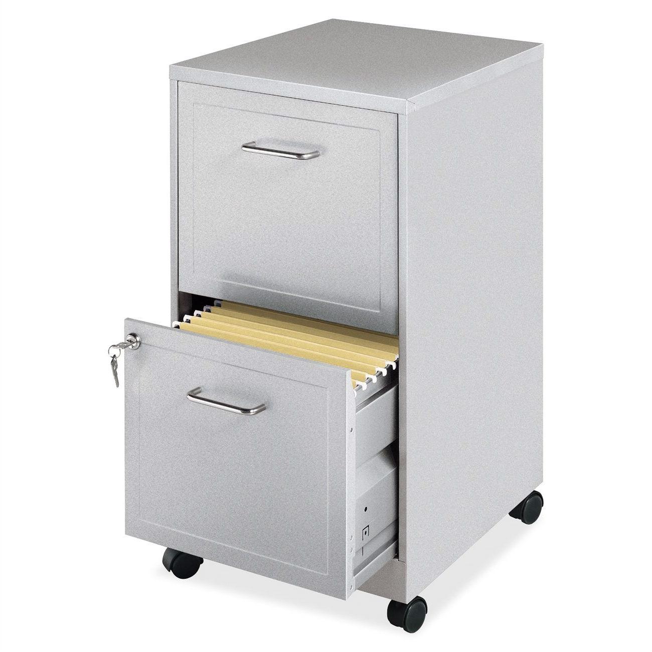 Gray Silver Metal 2 Drawer File Cabinet