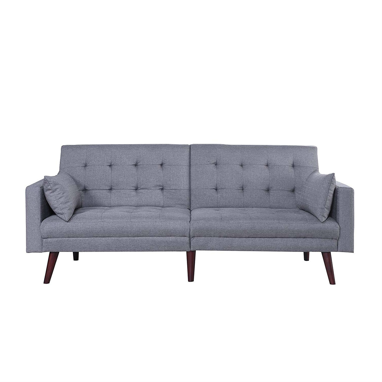 Blue Modern Tufted Sofa Linen Split Back Recliner Sleeper Futon Couch