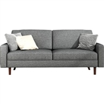 Light Grey Linen Upholstered Sofa with Modern Mid-Century Style Wood Legs
