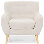浅灰色软垫簇绒扶手椅,具有中世纪风格的木腿