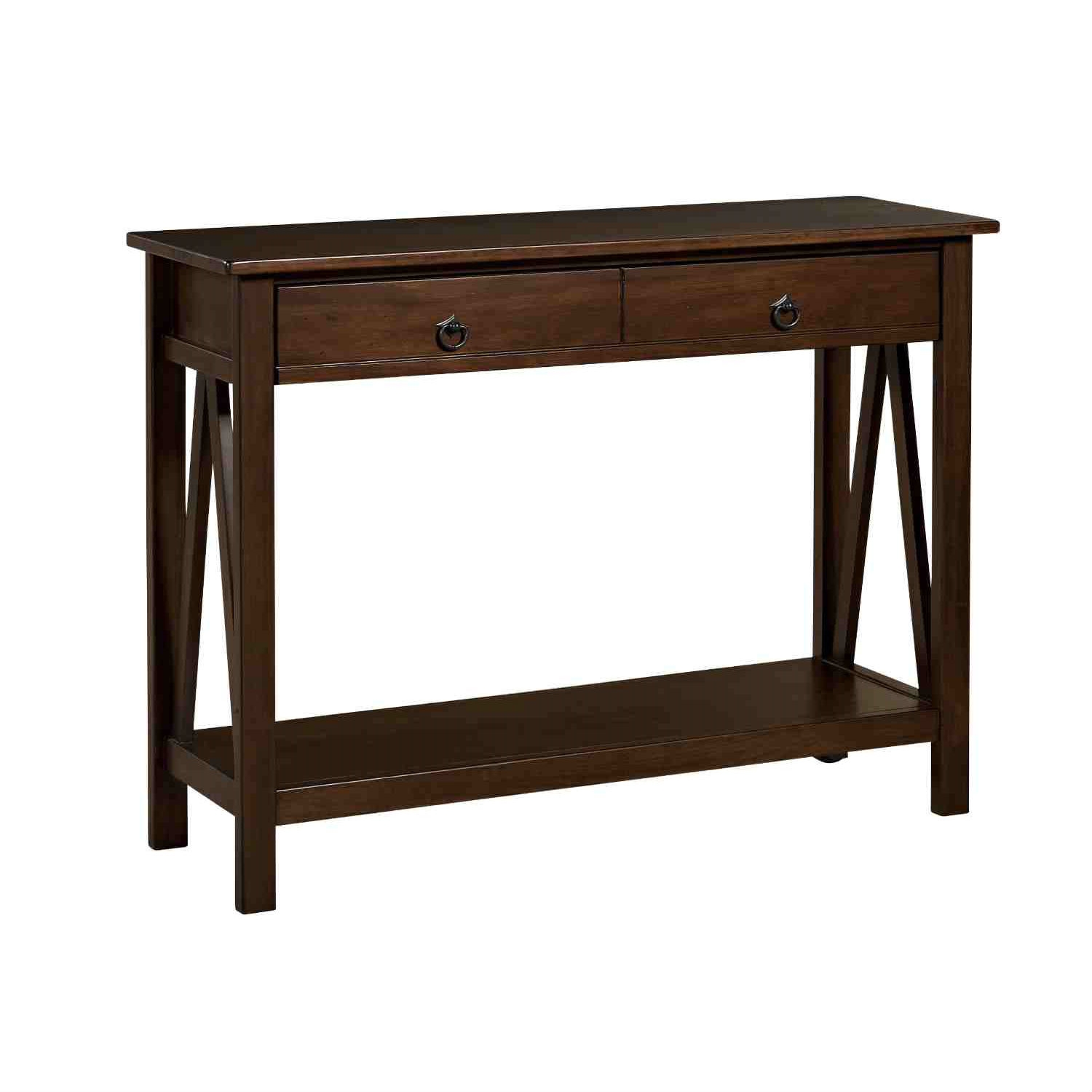 2-Drawer Console Sofa Table Living Room Storage Shelf in Tobacco ...