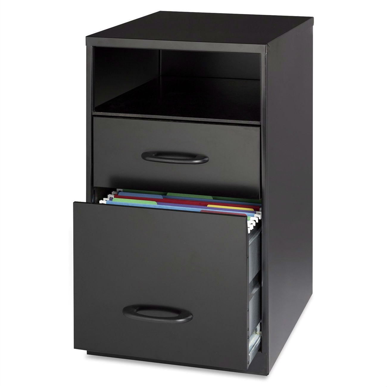 Metal Black Kitchen Cabinets: Black Metal 2-Drawer Filing Cabinet With Office Storage