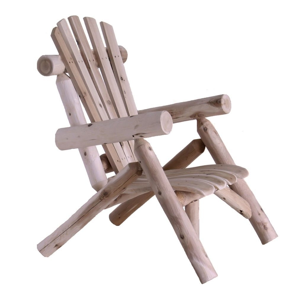 Outdoor Adirondack Style Cedar Log Lounge Chair   Made In USA
