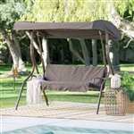 Outdoor Patio 2-Person Porch Swing with Adjustable Tilt Canopy and Side Table