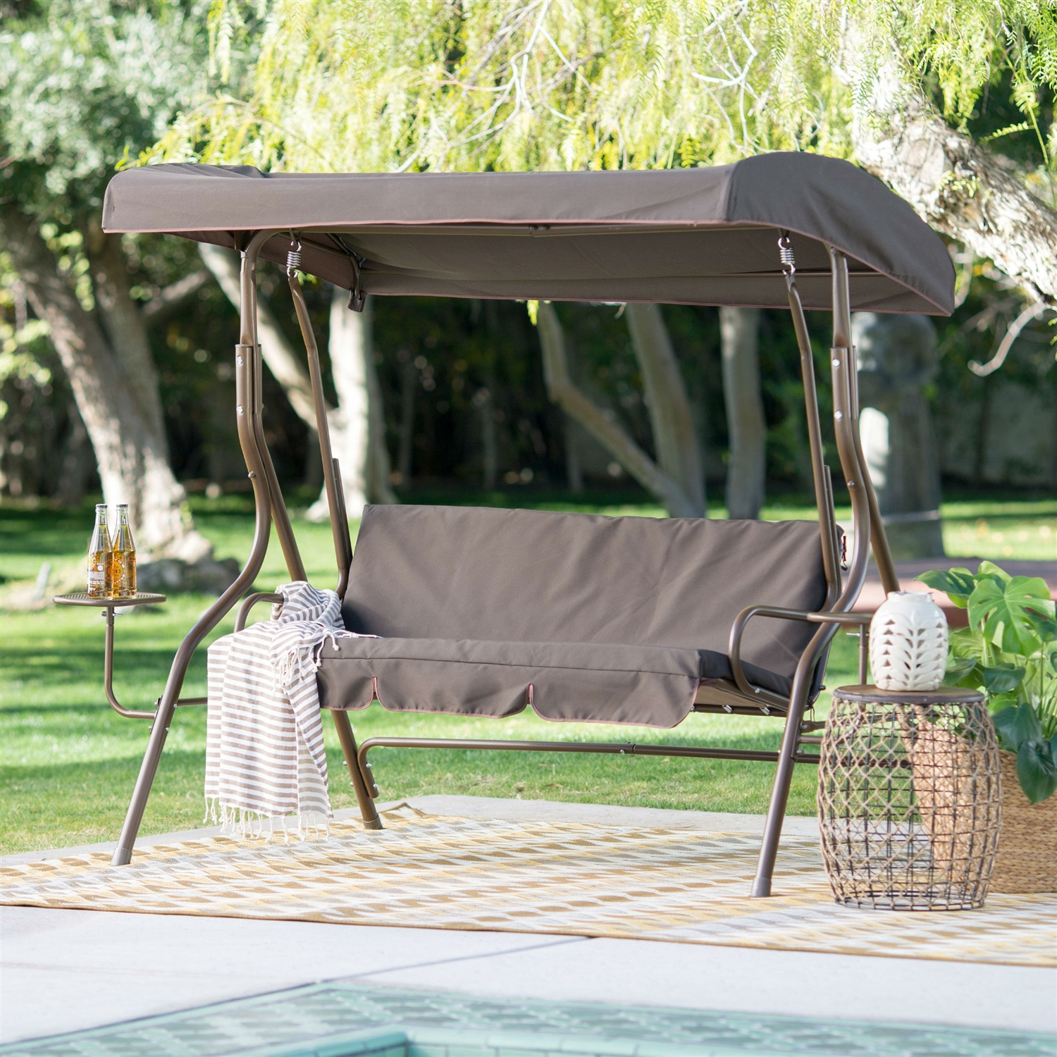 Outdoor Patio 2-Person Porch Swing with Adjustable Tilt Canopy and Side Table & Outdoor Patio 2-Person Porch Swing with Adjustable Tilt Canopy and ...