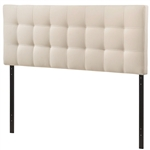Queen size Ivory Fabric Padded Mid-Century Upholstered Headboard