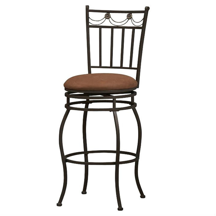 24 Inch Metal Swivel Bar Stool With Brown Cushion Seat In Bronze