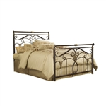 Queen size Metal Sleigh Bed in Marbled Russet Finish