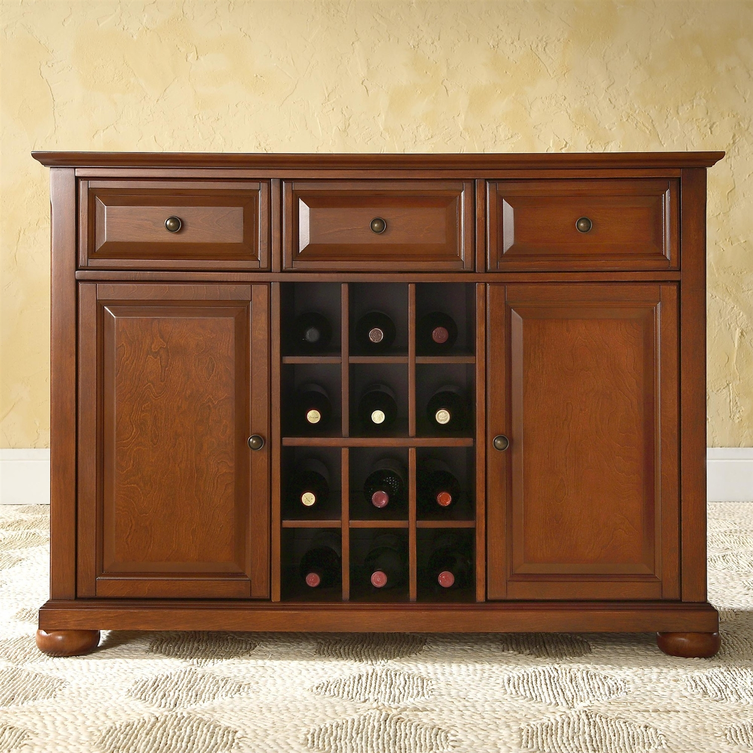 Cherry Wood Dining Room Storage Buffet Cabinet Sideboard with Wine