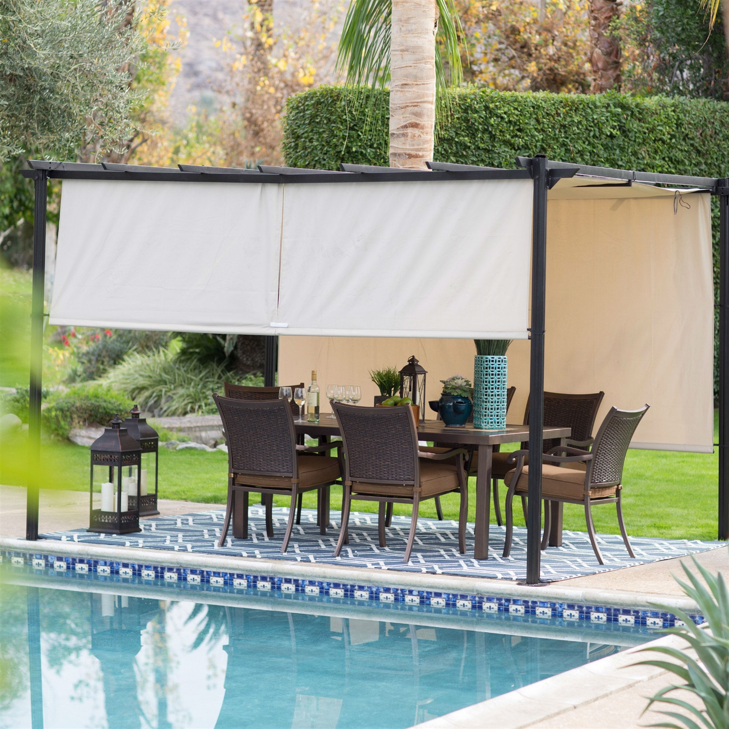 10 Ft X 12 Ft Dark Brown Steel Metal Pergola Outdoor Gazebo With Retractable Ivory Shade Canopy Fastfurnishings Com