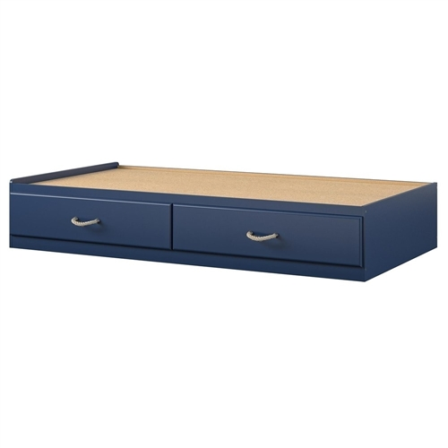 Twin Size Blue Platform Bed with 2 Storage Drawers Rope Handles