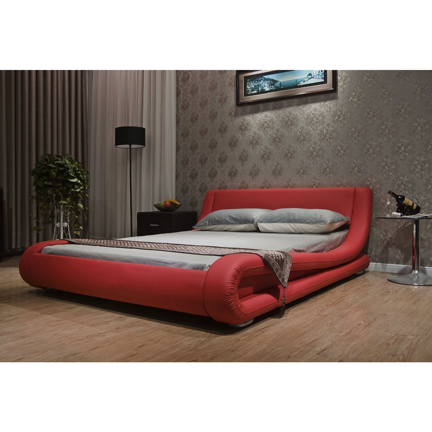 King Size Modern Red Faux Leather Upholstered Platform Bed With