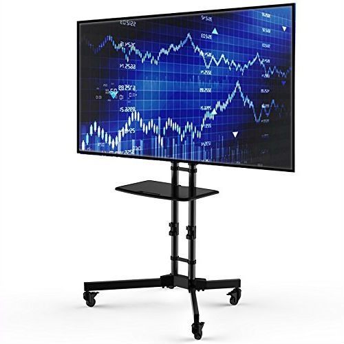 Adjustable Height Mobile TV Cart TV Stand for up to 65-inch TV