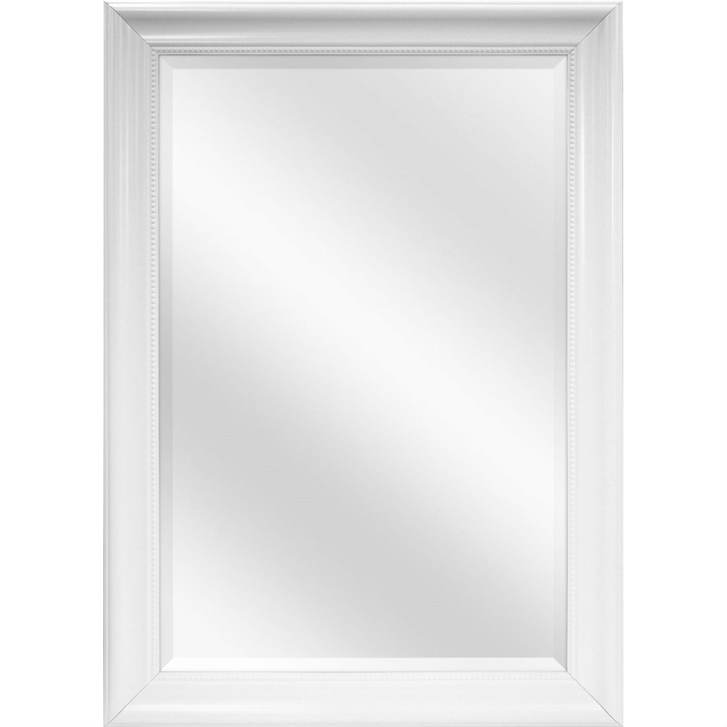 Large Rectangular Bathroom Wall Hanging Mirror With White Frame