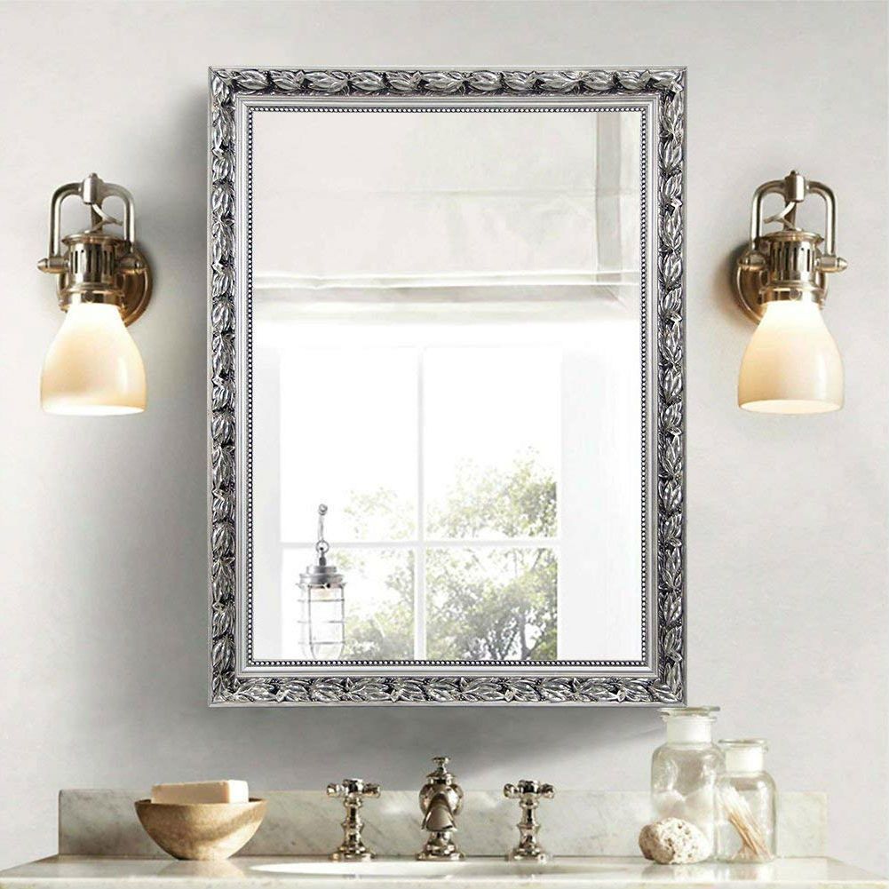Large 38 X 26 Inch Bathroom Wall Mirror With Baroque Style Silver Wood Frame Fastfurnishings Com