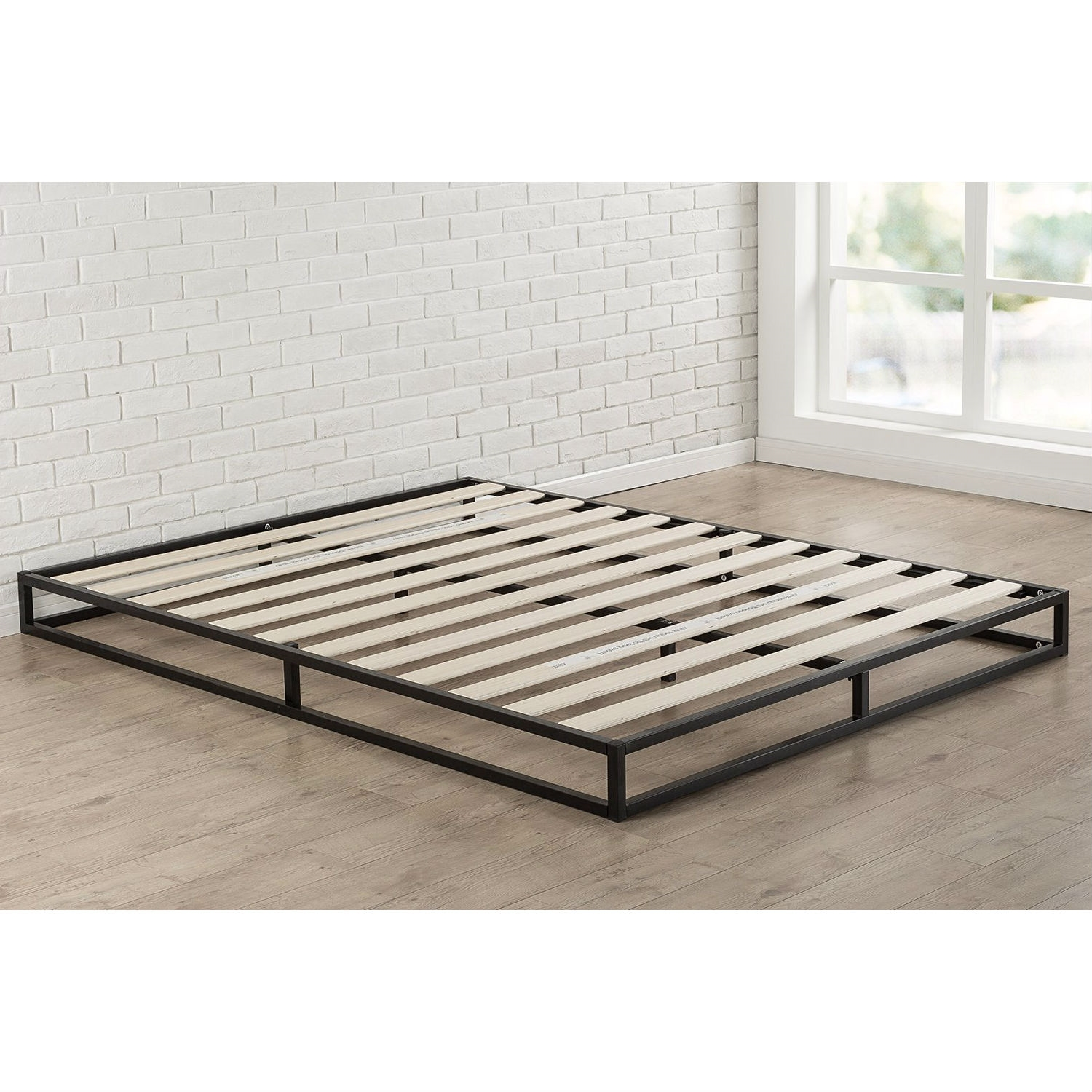 King size 6 inch Low Profile Metal Platform Bed Frame with Wood