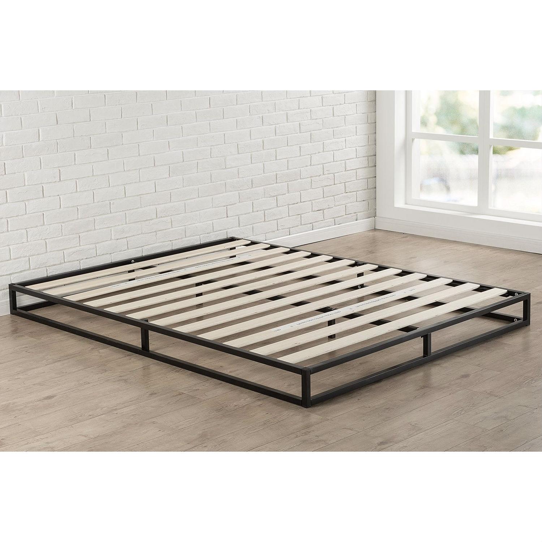 King Size 6 Inch Low Profile Metal Platform Bed Frame With Wood Slat Mattress Foundation Fastfurnishings Com