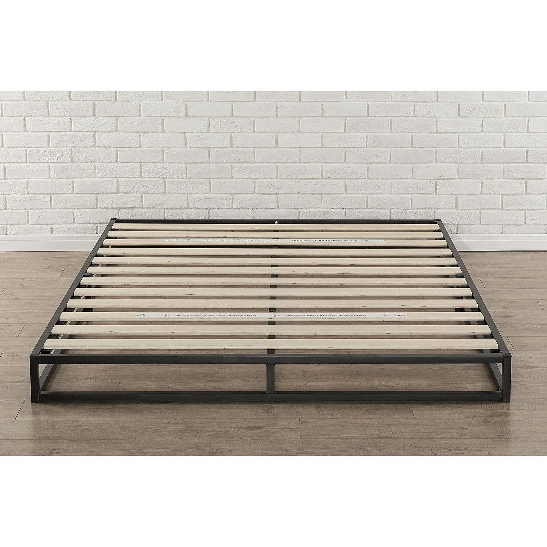 King size 6-inch Low Profile Metal Platform Bed Frame with Wood Slat ...