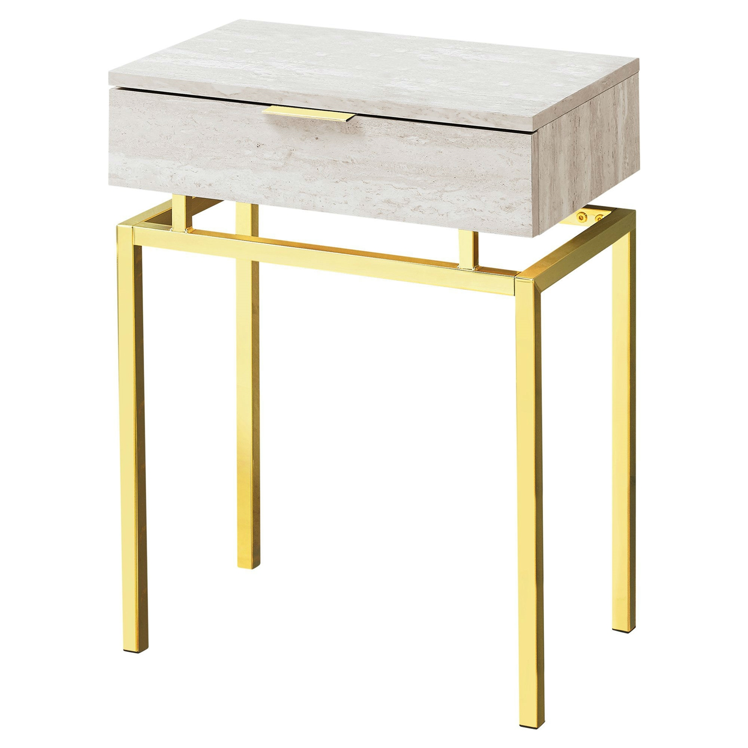 Picture of: 24in Modern End Table 1 Drawer Nightstand Beige Marble Gold Legs Fastfurnishings Com