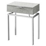 24in Modern End Table 1 Drawer Nightstand Grey with Chrome Metal Legs