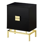24in Retro 2 Drawer NightStand End Table Cappuccino and Gold Metal Legs