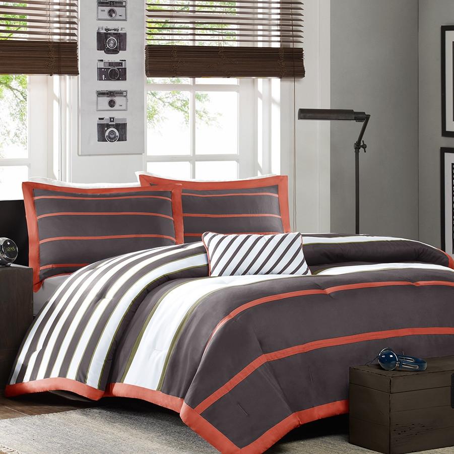 Full / Queen Bed Bag Comforter Set in Dark Gray Orange White
