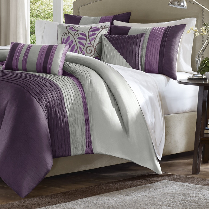 King size Bed in Bag Comforter Set Amethyst Plum Purple Gray