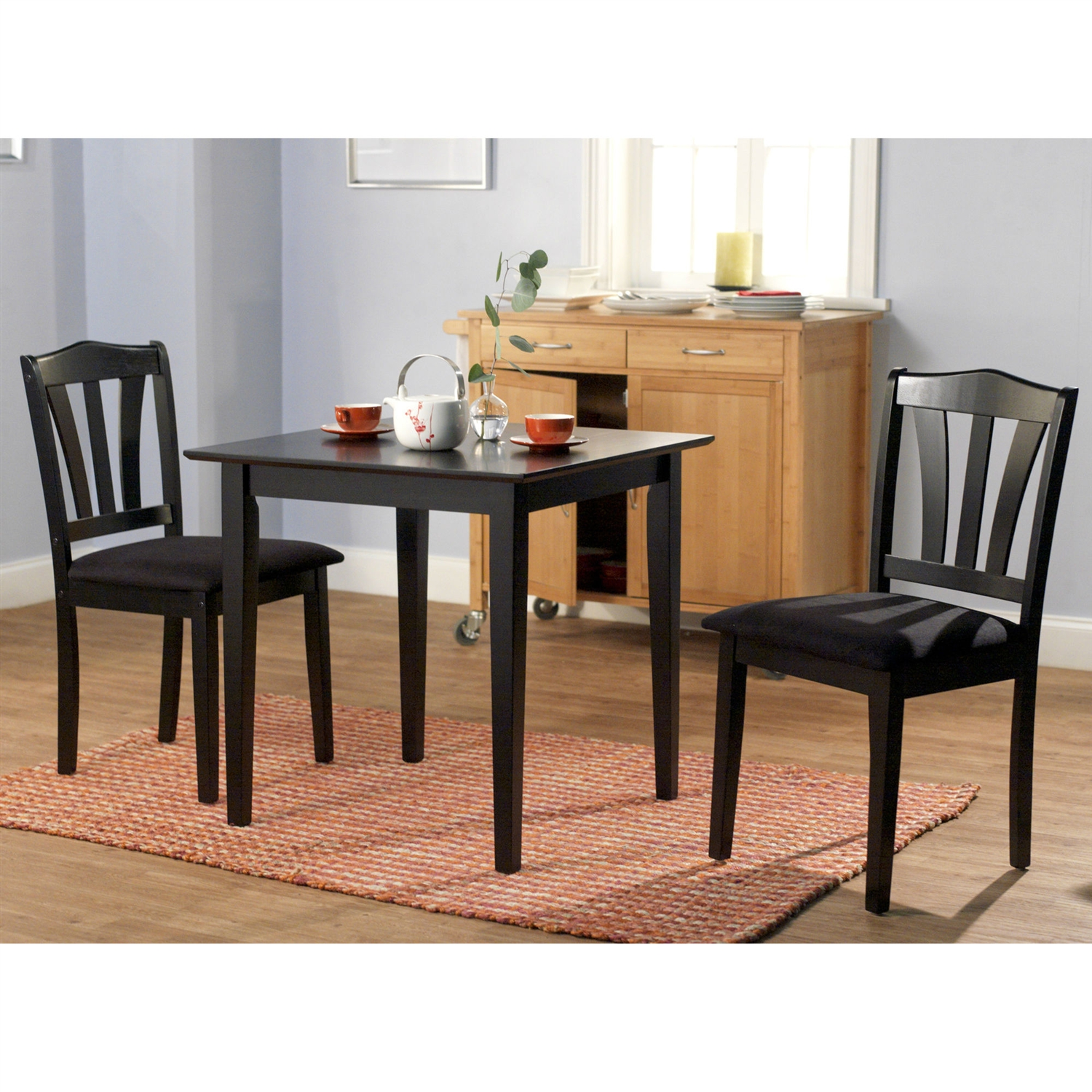 Dining Table With Two Chairs: 3-Piece Wood Dining Set With Square Table And 2 Chairs In