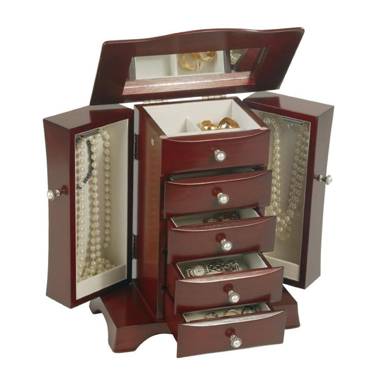 4 Drawer Jewelry Box In Cherry Mahogany Wood Finish