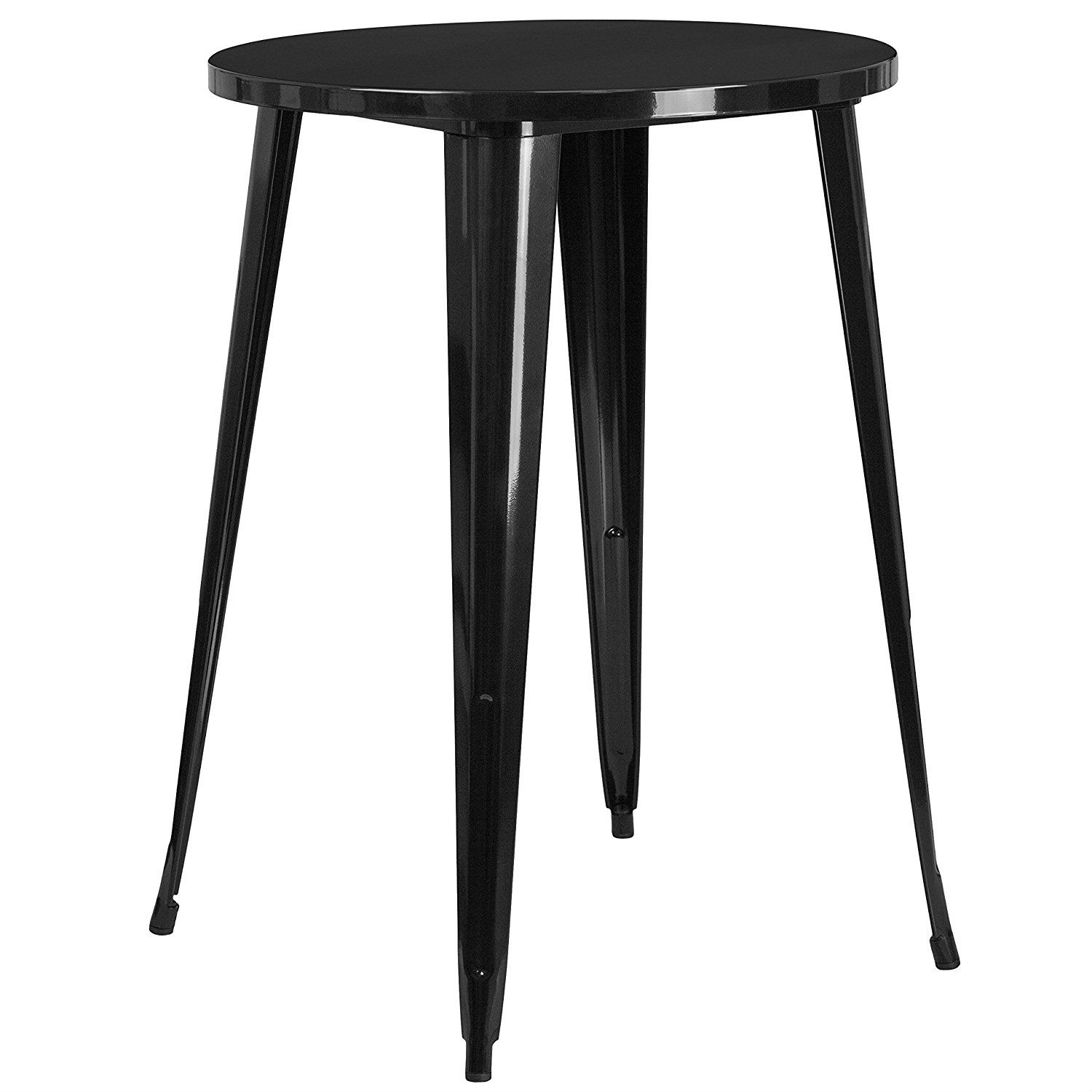 Modern 30 inch outdoor round metal cafe bar patio table in black fastfurnishings com