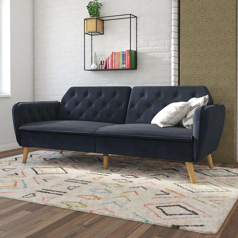 Memory Foam Blue Velvet Upholstered Futon Sofa Bed with Mid-Century Style  Wood Legs
