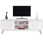 Modern Mid Century Style White TV Stand with Wood Legs