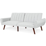 Modern Mid-Century Grey Linen Split-Back Futon Sofa Bed Couch
