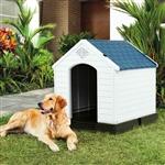 中型狗屋户外白色蓝色塑料地板高架