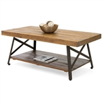 Modern Classic Industrial Chic Reclaimed Wood and Metal Coffee Table