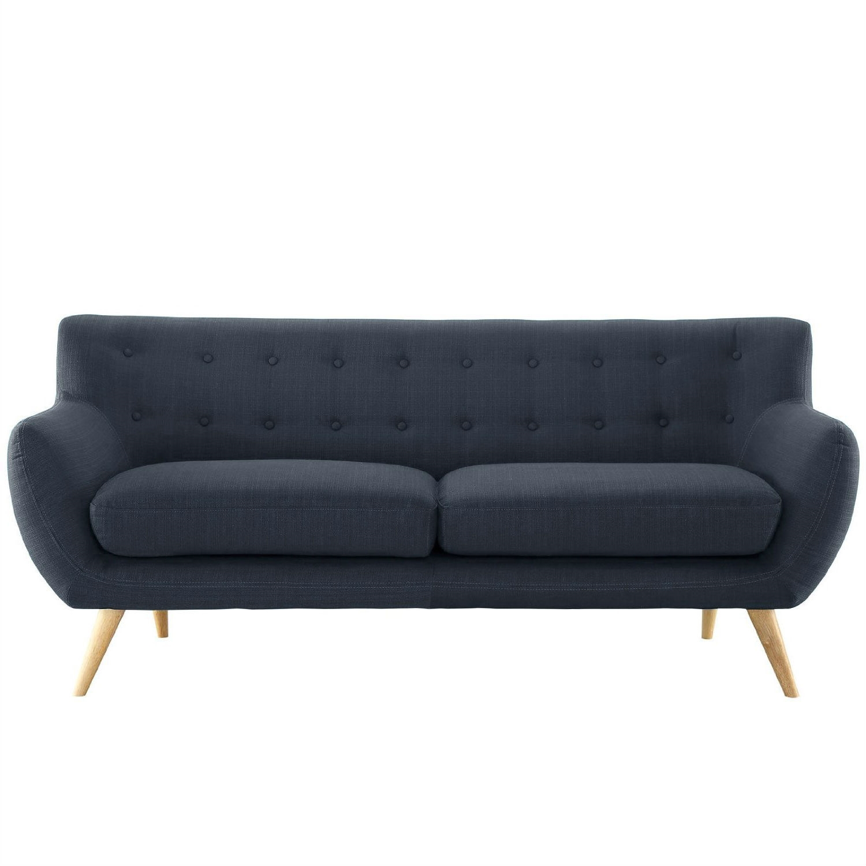 Modern Navy Blue Linen Upholstered Mid Century Style Sofa Loveseat