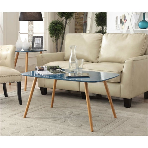 Modern Mid-Century Blue Top Coffee Table With Solid Wood