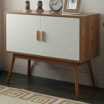 Mid Century Modern Console Table Storage Cabinet With Solid Wood Legs