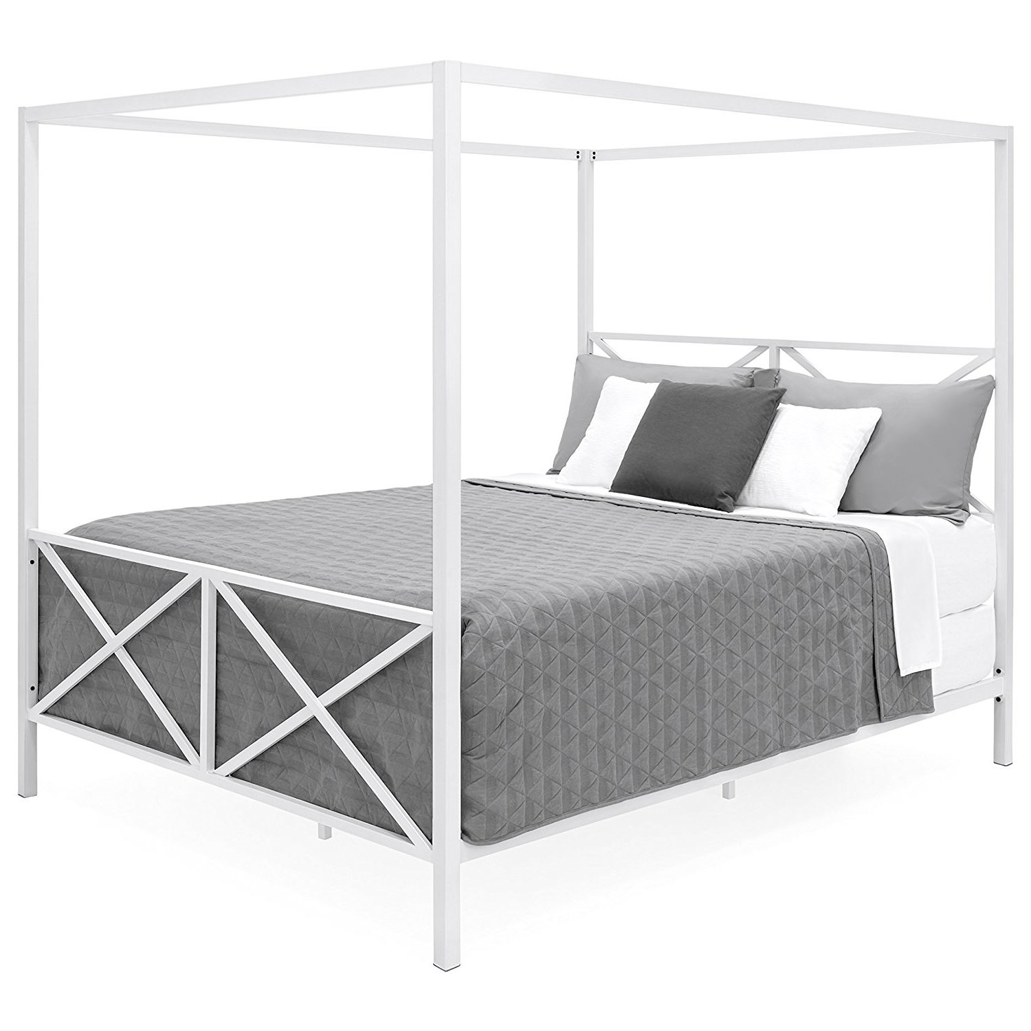 Queen Size Modern Style White Metal Canopy Bed Frame