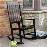 Indoor/Outdoor Black Slat Rocking Chair