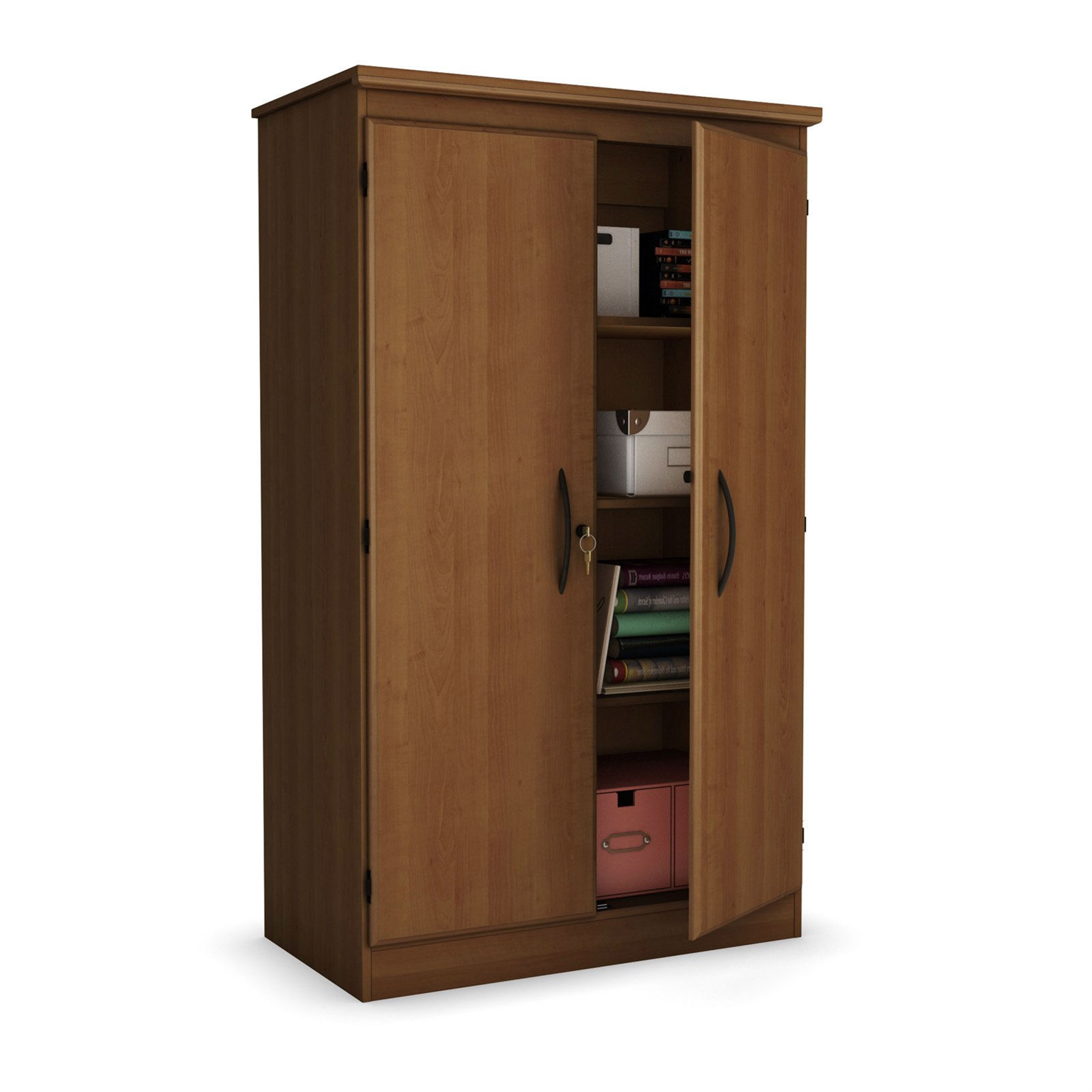 Cherry 2 Door Storage Cabinet Wardrobe Armoire For Bedroom Living Room Or Home Office