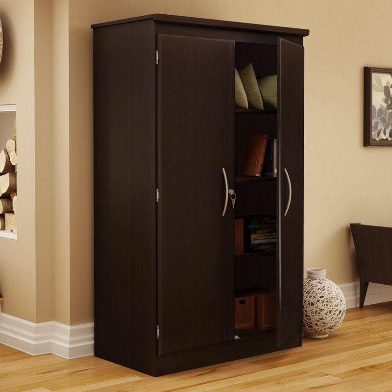 Cherry 2 Door Storage Cabinet Wardrobe Armoire For Bedroom Living