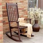 室内室外深棕色板条摇椅