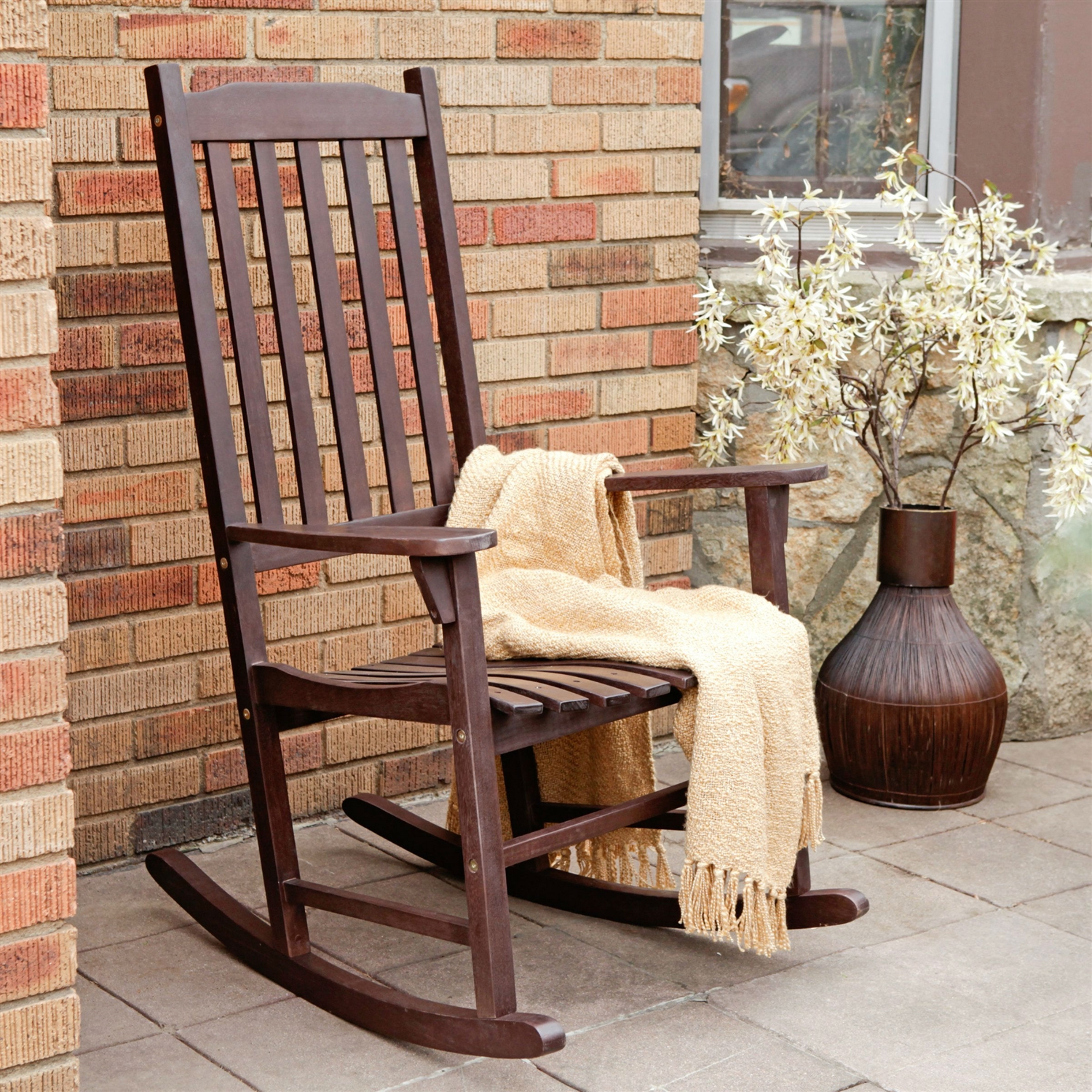 Indoor Outdoor Dark Brown Slat Rocking Chair