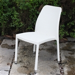 All-Weather White Wicker Resin Outdoor Stacking Patio Dining Side Chair